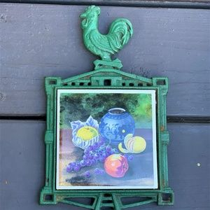 Other - Vintage Cast Iron Footed Rooster Trivet